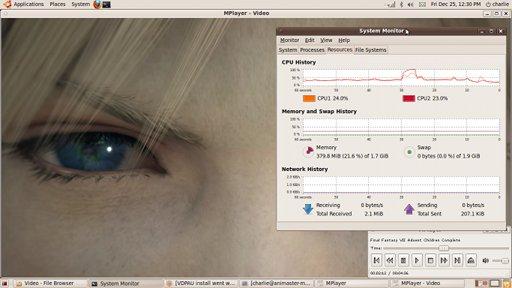 Video trailer FFVII ACC 1080p diputar lancar dengan beban CPU sekitar 25 persen