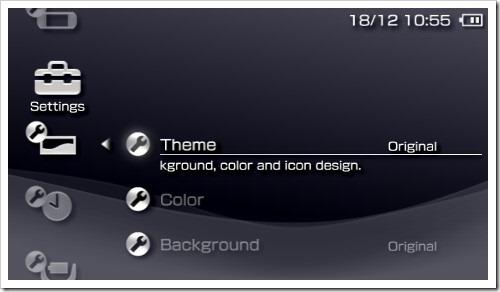 Set konfigurasi Theme pada PSP ke Original