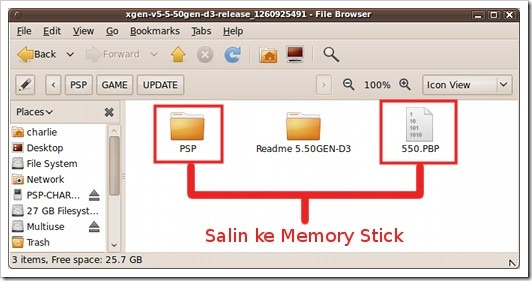 Salin folder PSP dan berkas 550.PBP ke Memory Stick PSP