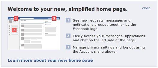 Pemberitahuan mengenai tampilan baru Facebook