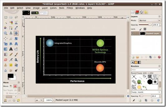GIMP dengan mode jendela tunggal
