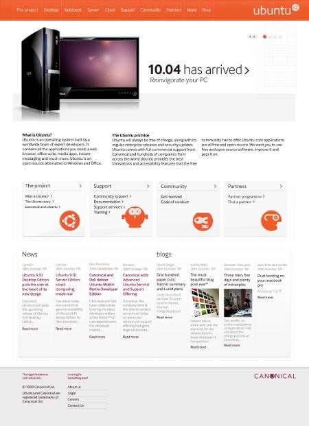 Desain baru situs Ubuntu